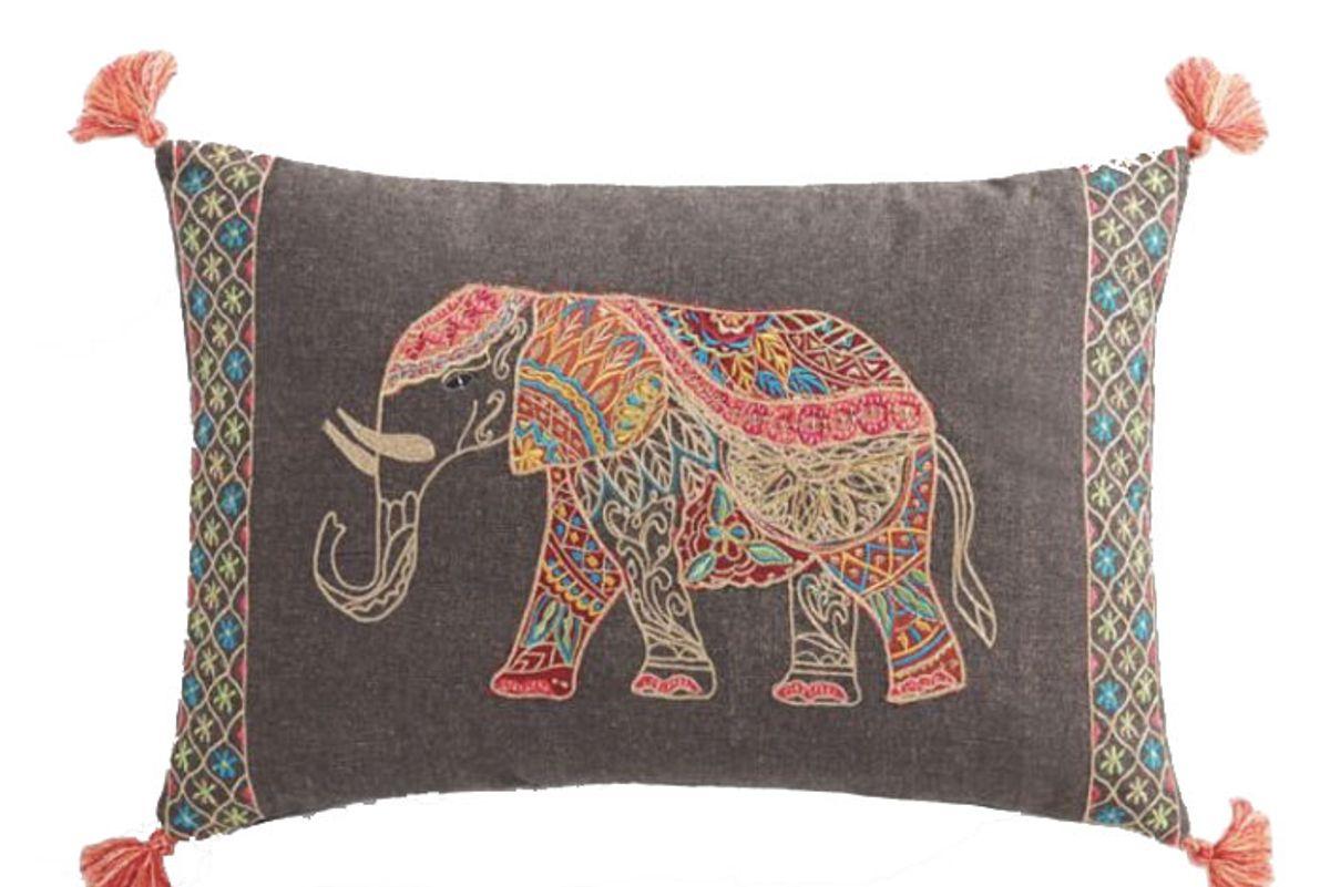 Elephant Embroidered Lumbar Pillow