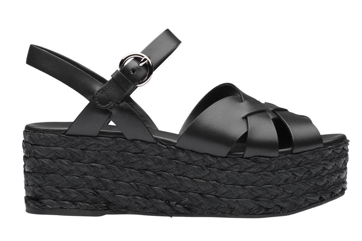 prada leather and raffia sandals