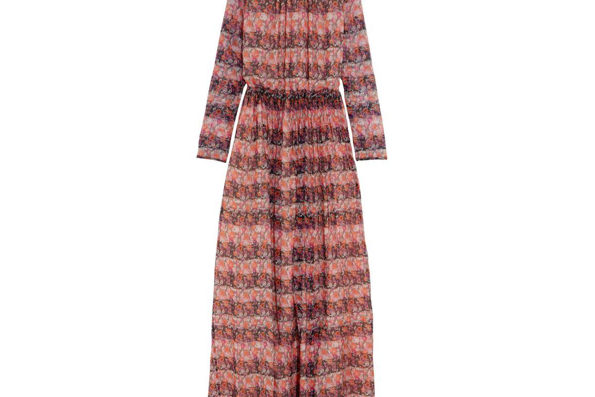 Floral-print silk-chiffon gown