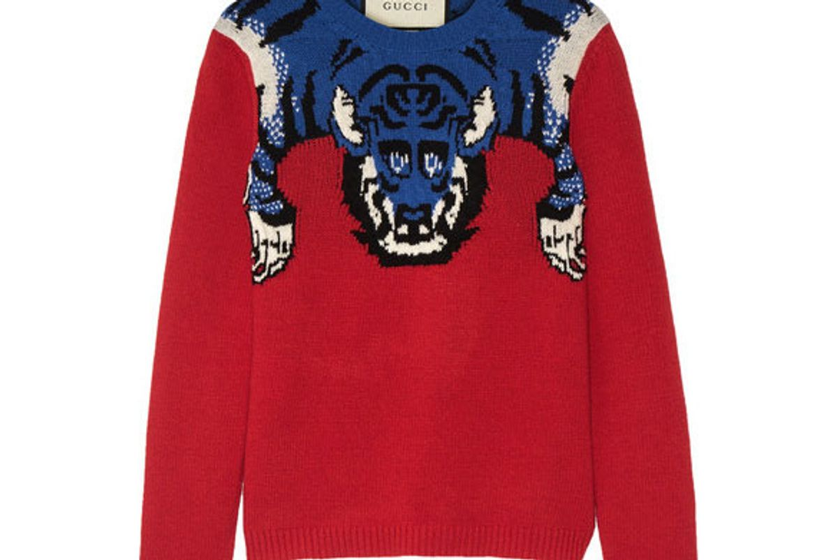 Embellished intarsia wool sweater