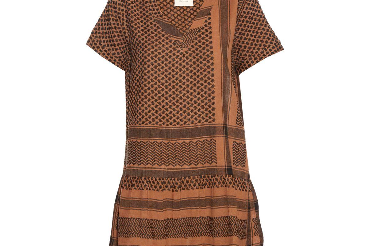 Short-sleeved scarf-jacquard dress