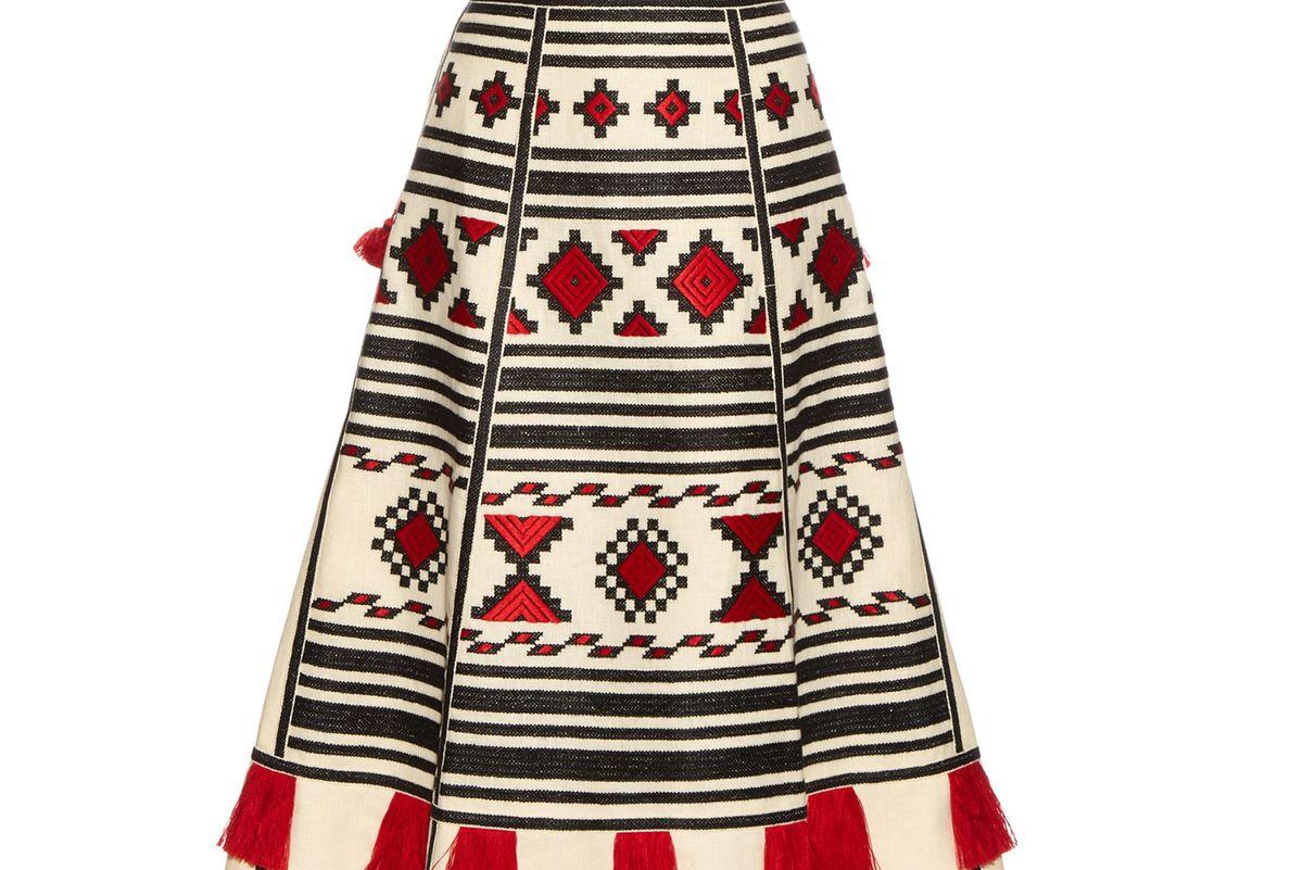 Geometric-embroidered linen skirt