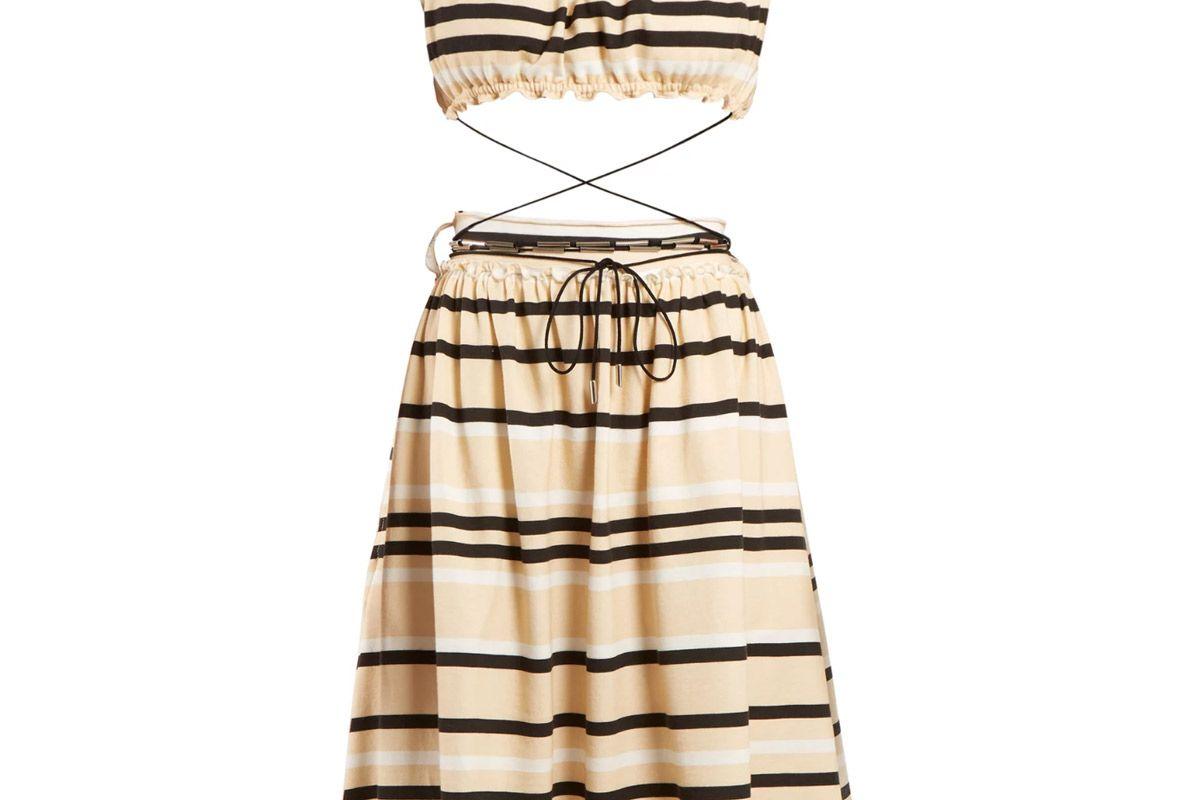 jw anderson off the shoulder striped cotton dress