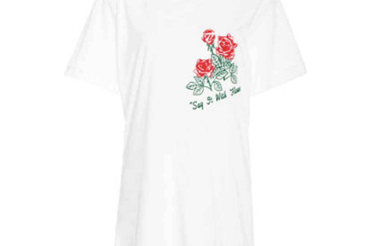 rosie assoulin t-shirt with flocked red roses