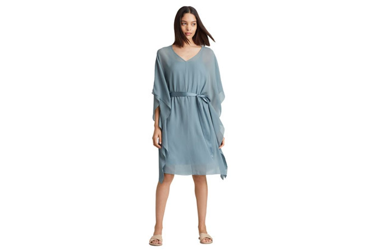 eileen fisher sheer silk georgette caftan with slip
