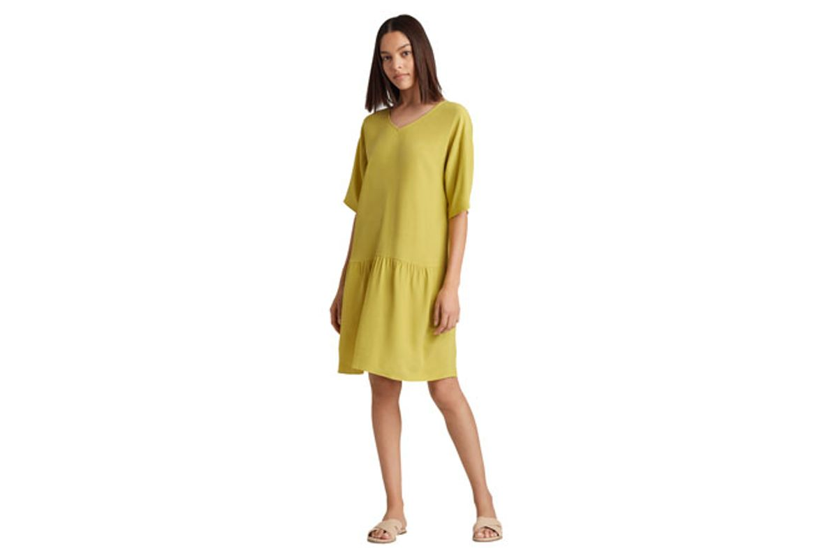 eileen fisher tencel viscose crepe drop-waist dress
