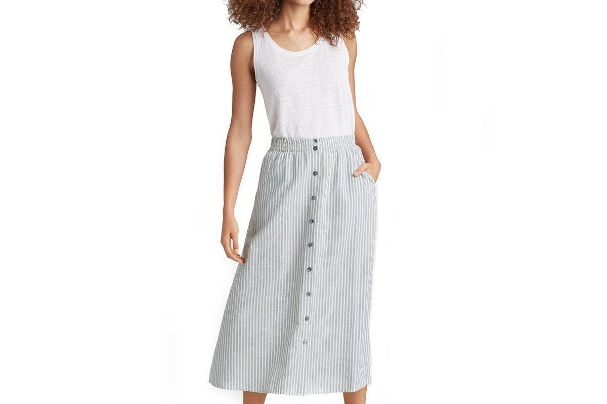 eileen fisher hem organic cotton stripe button-front skirt
