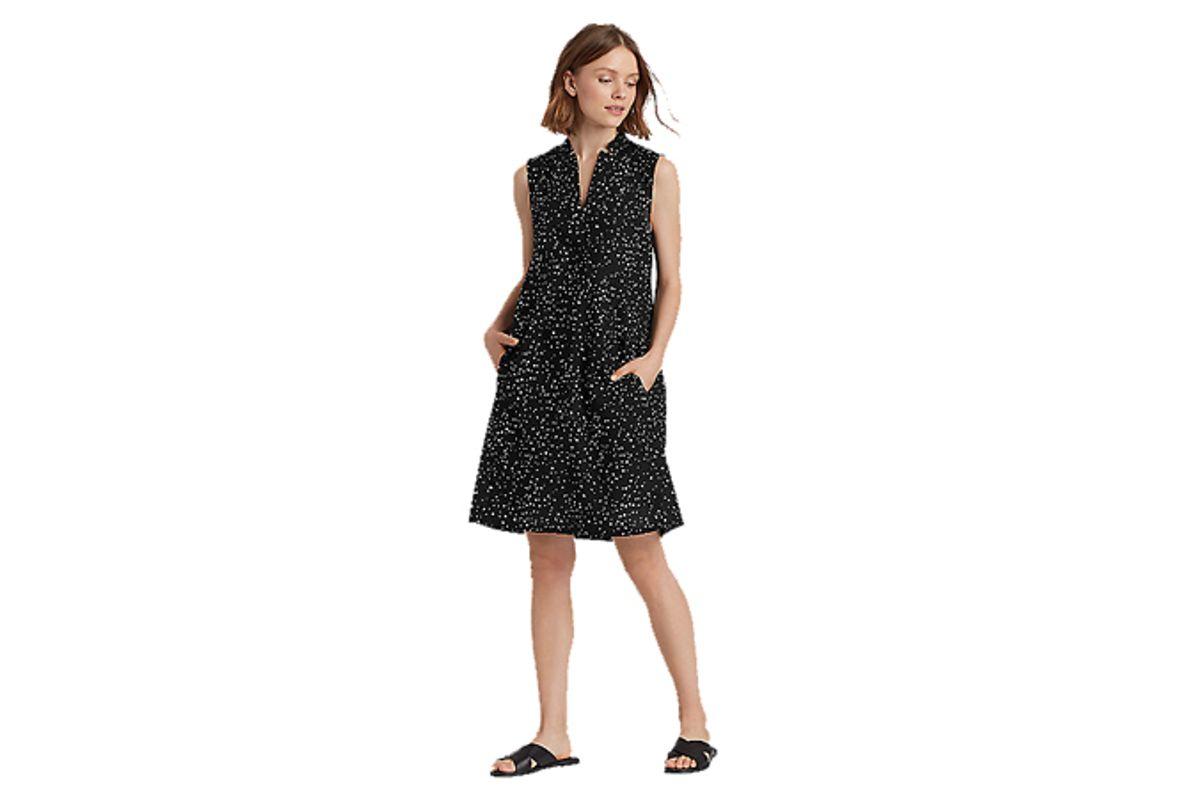 eileen fisher dot-printed organic cotton a-line dress