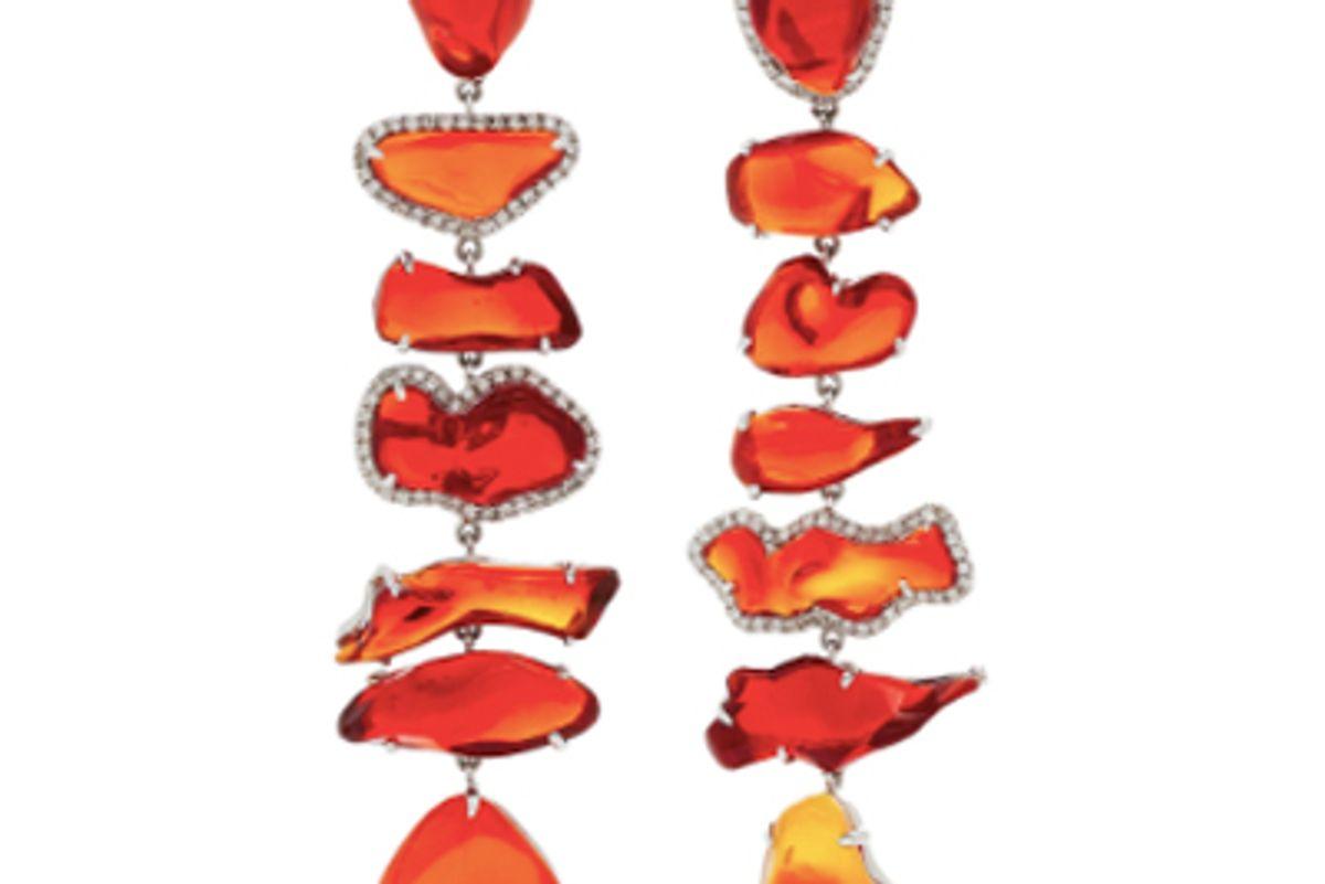 nina runsdorf one-of-a-kind fire opal long earrings