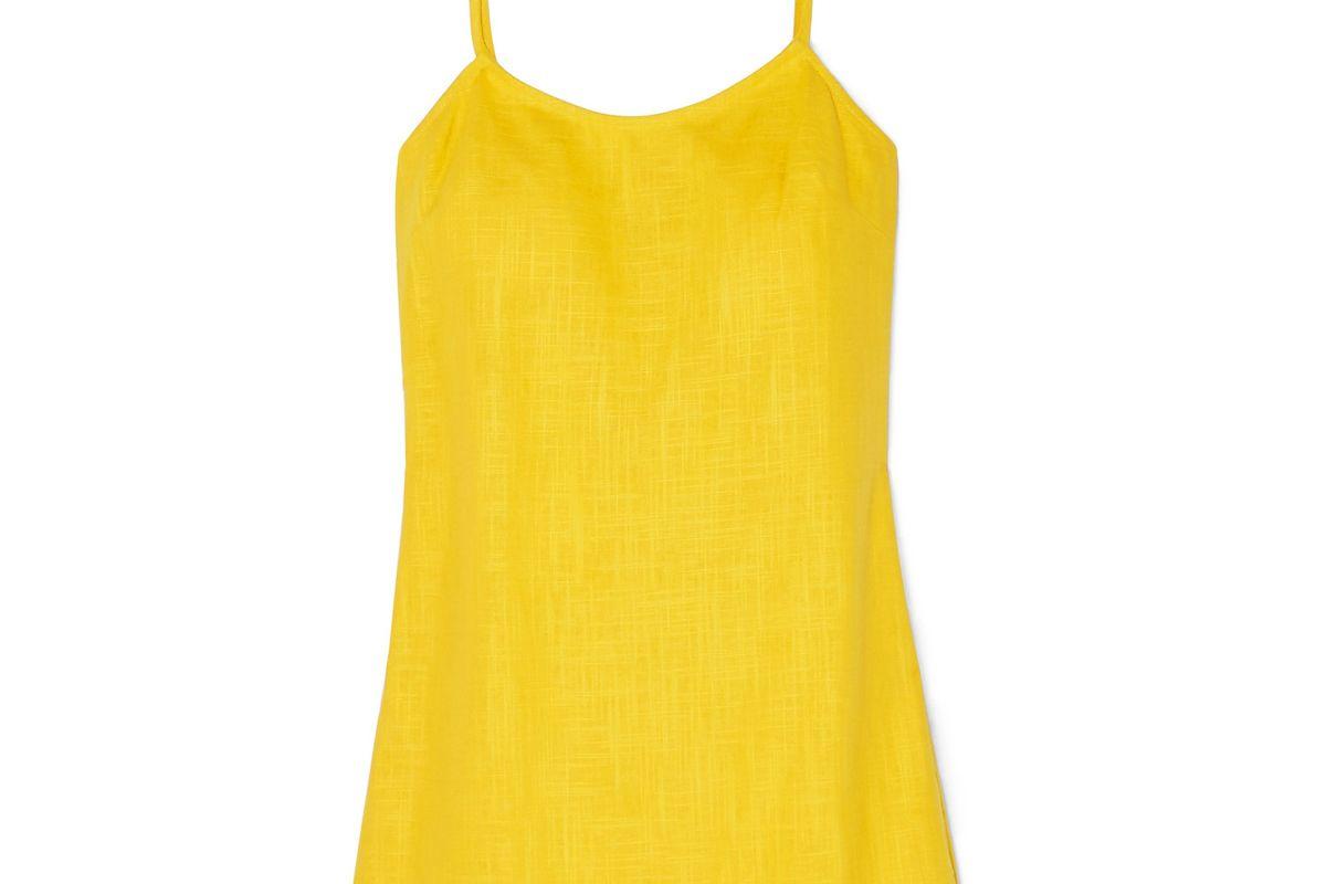 staud sonny fringed linen blend mini dress