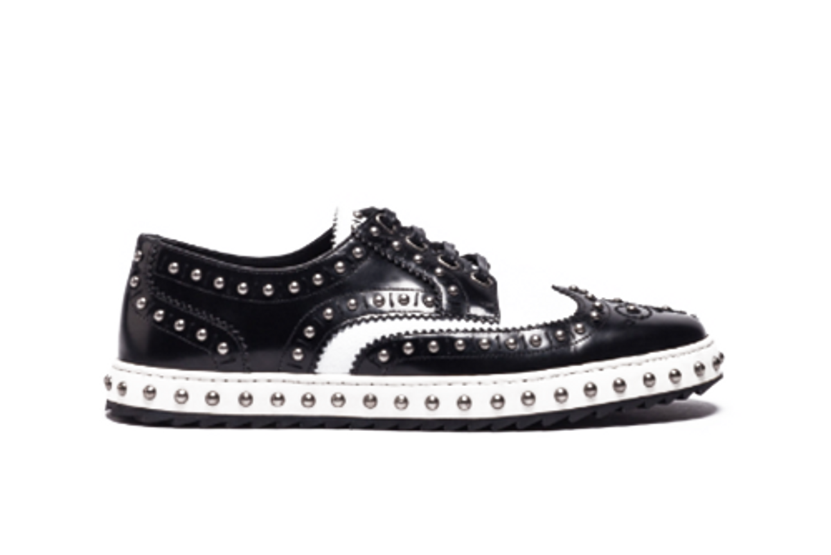Studded Leather Lace-Up Shoe