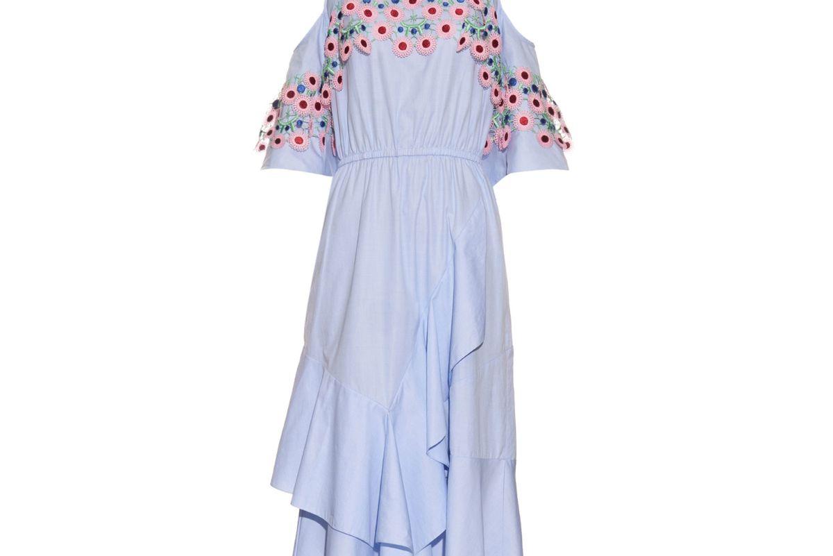 Crochet-trimmed open-shoulder midi dress