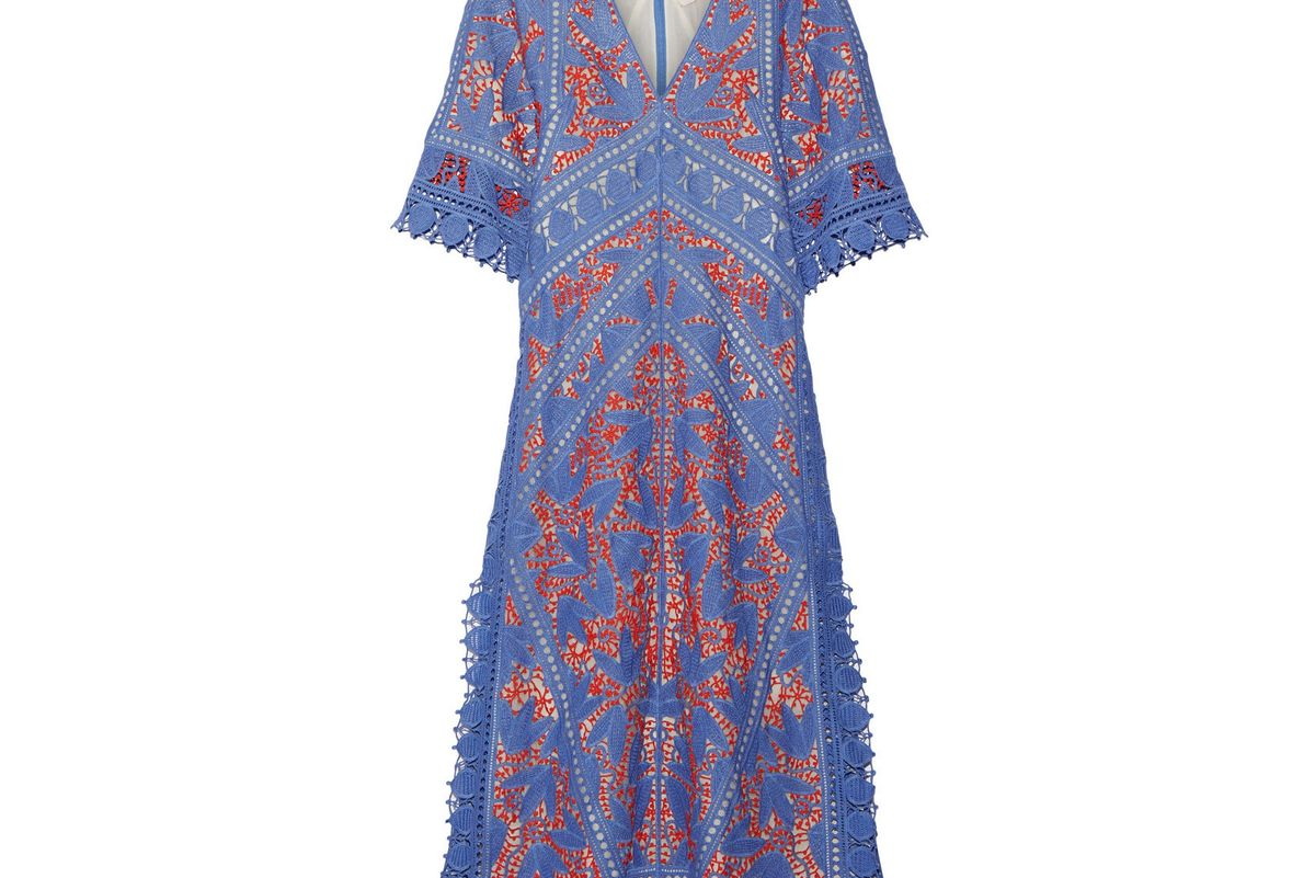 Michaella guipure lace-trimmed crocheted dress