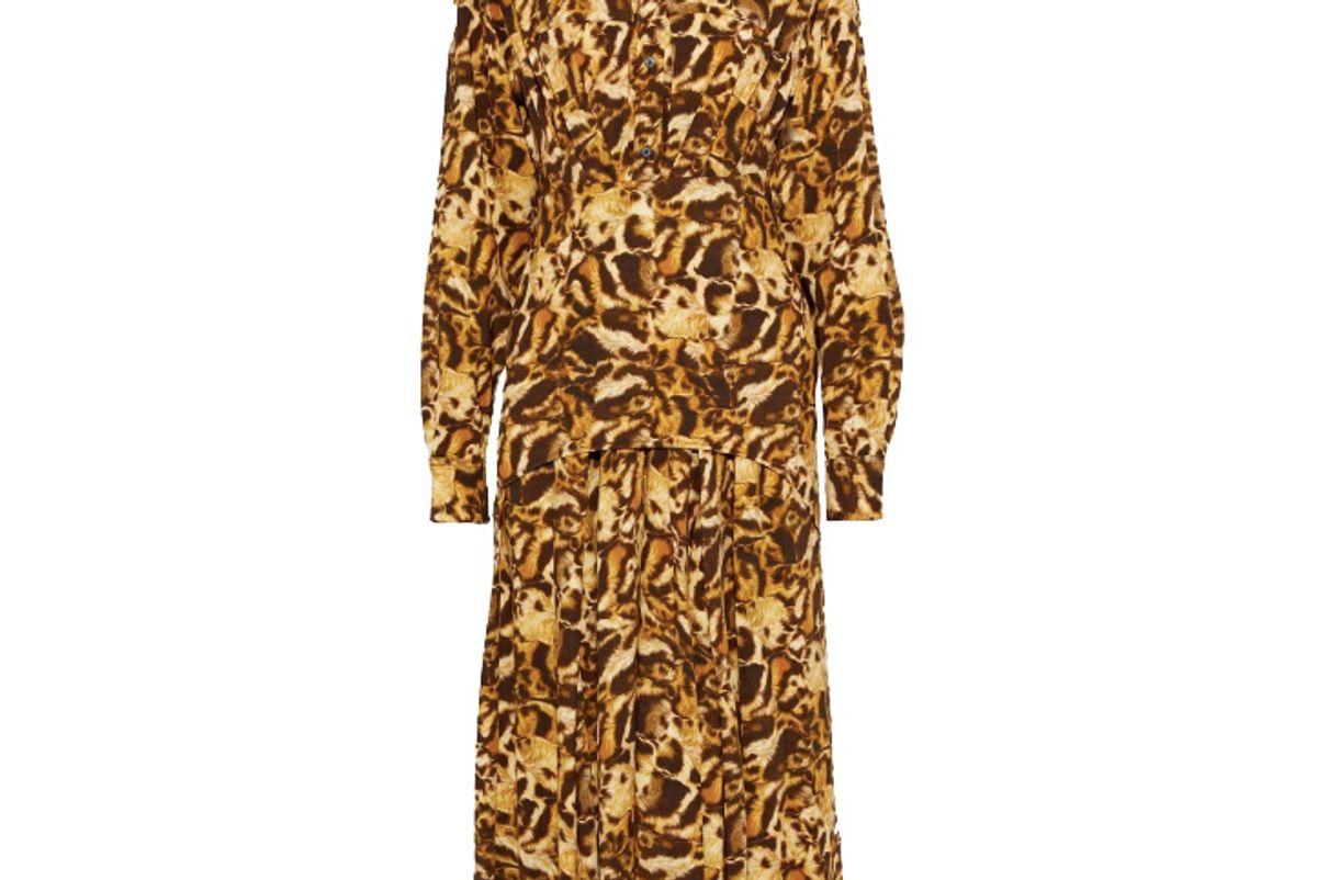 victoria beckham layered leopard print crepe de chine midi shirt dress