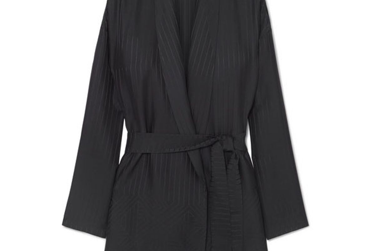 eres midday striped silk satin jacquard robe