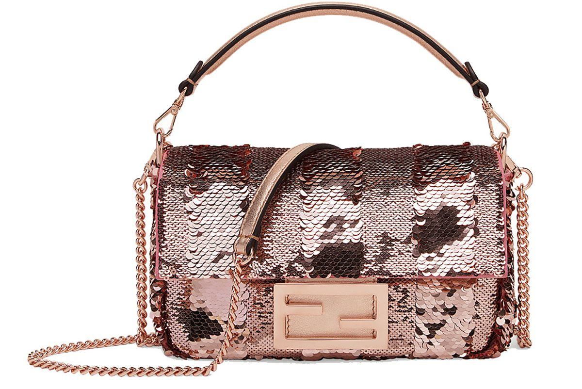 fendi baguette mini pink leather bag