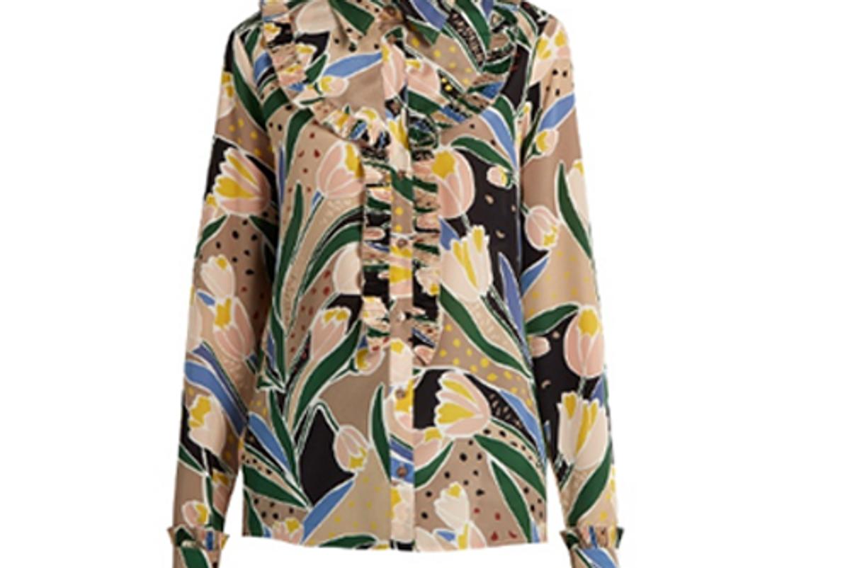 Tulip-print silk crepe de Chine Shirt