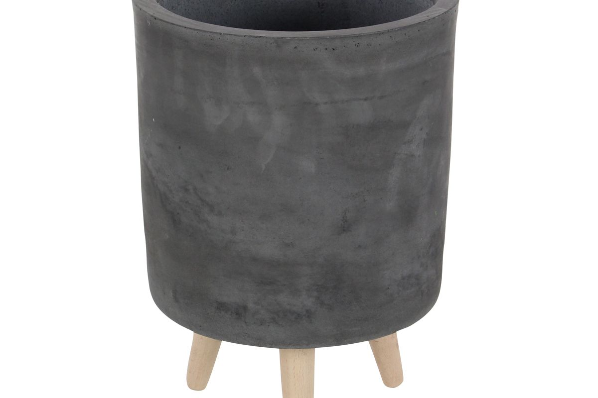 decmode contemporary round gray clay indoor and outdoor planters