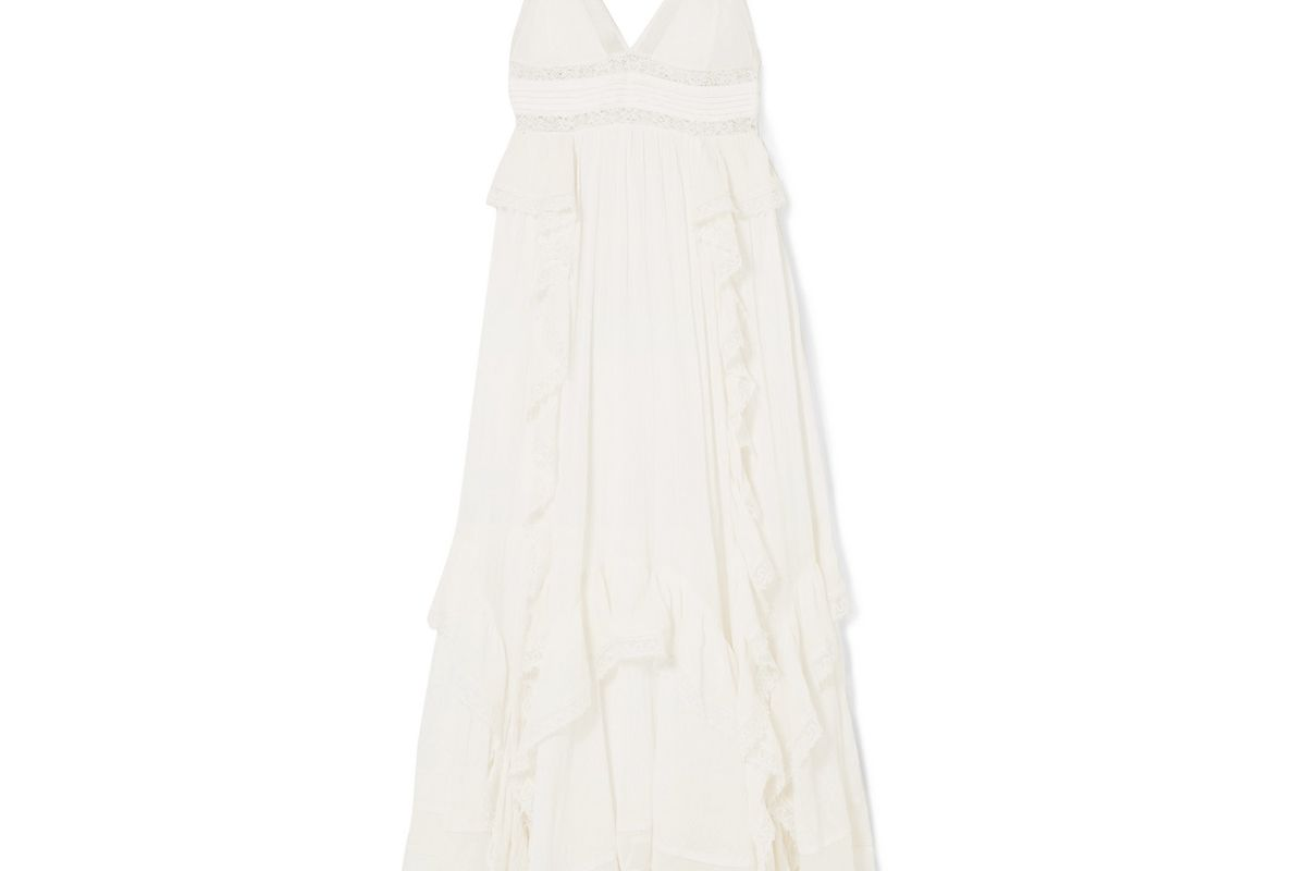 ulla johnson ruffled lace trimmed cotton crepon maxi dress