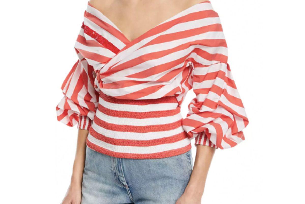 johanna ortiz zanzibar off the shoulder wrap striped poplin top
