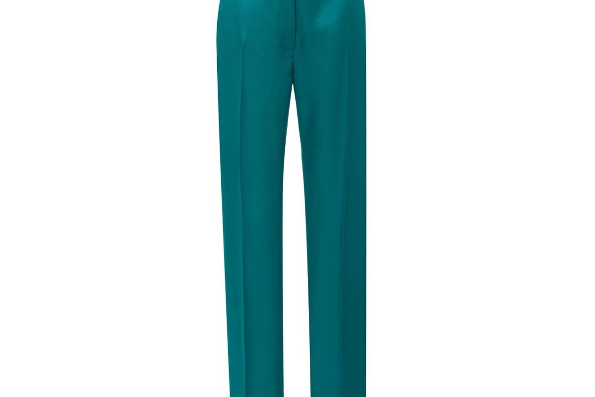 carolina herrera high waisted straight leg satin suit pants