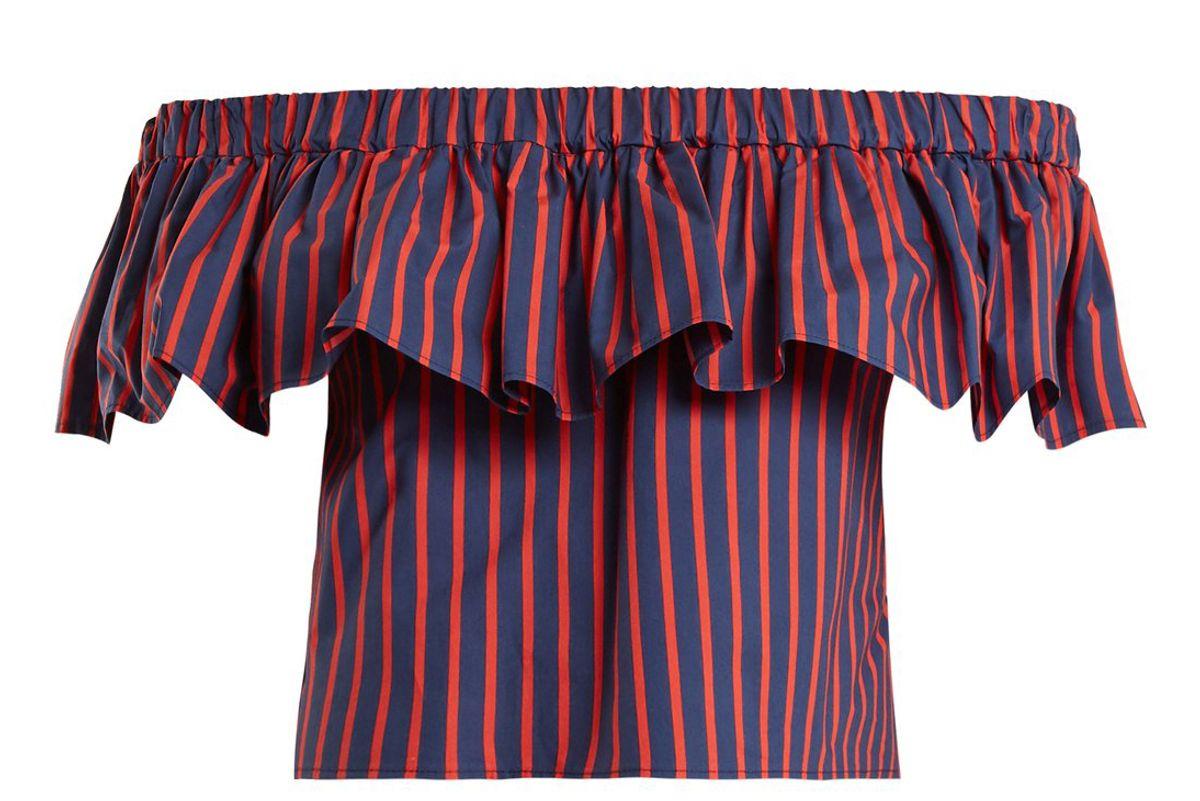 la doublej editions riviera striped cotton cropped top