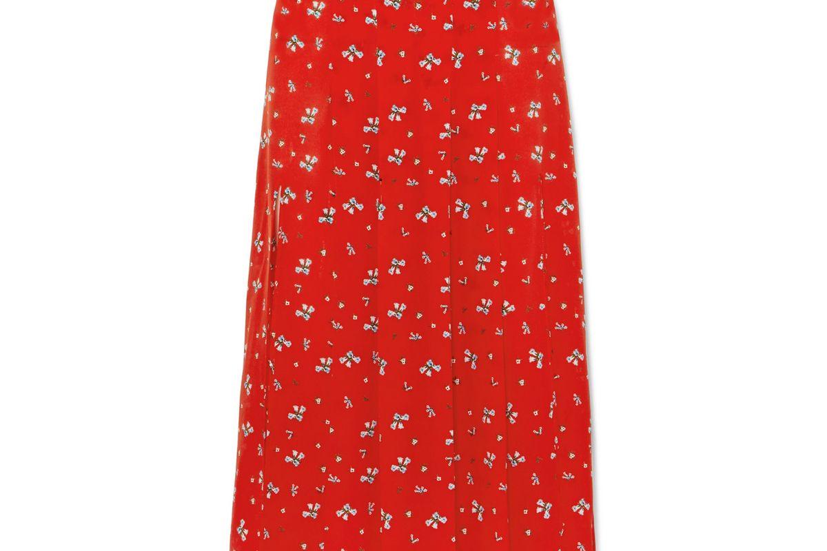 rixo london georgia pleated floral print silk crepe de chine midi skirt