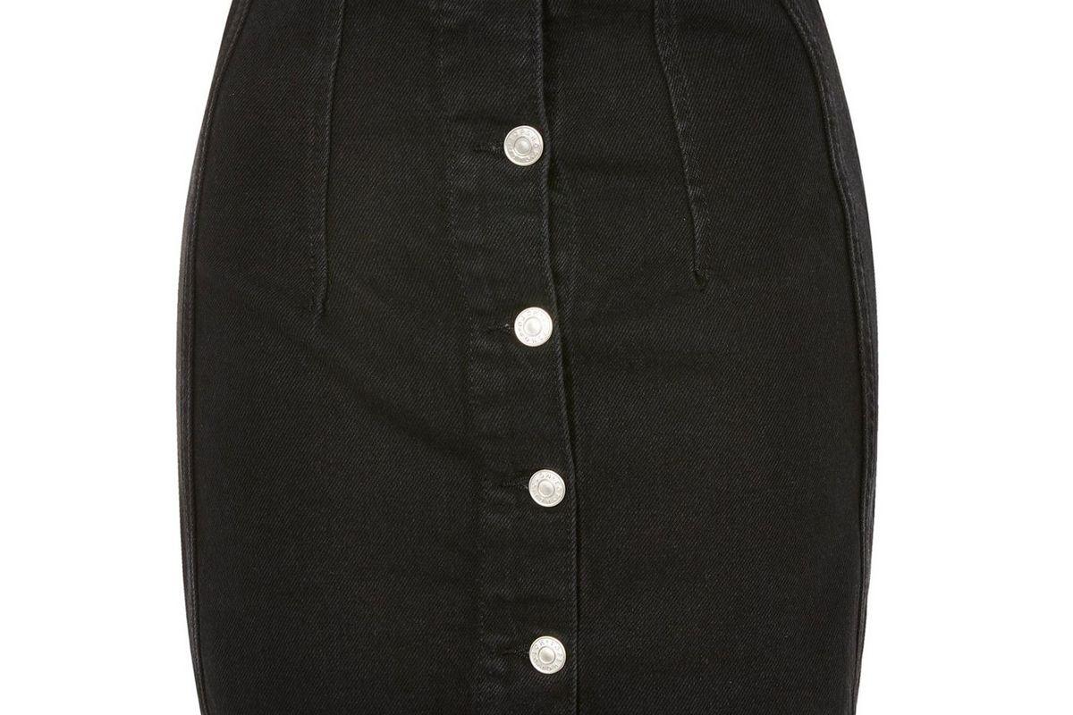 topshop moto button front denim mini skirt