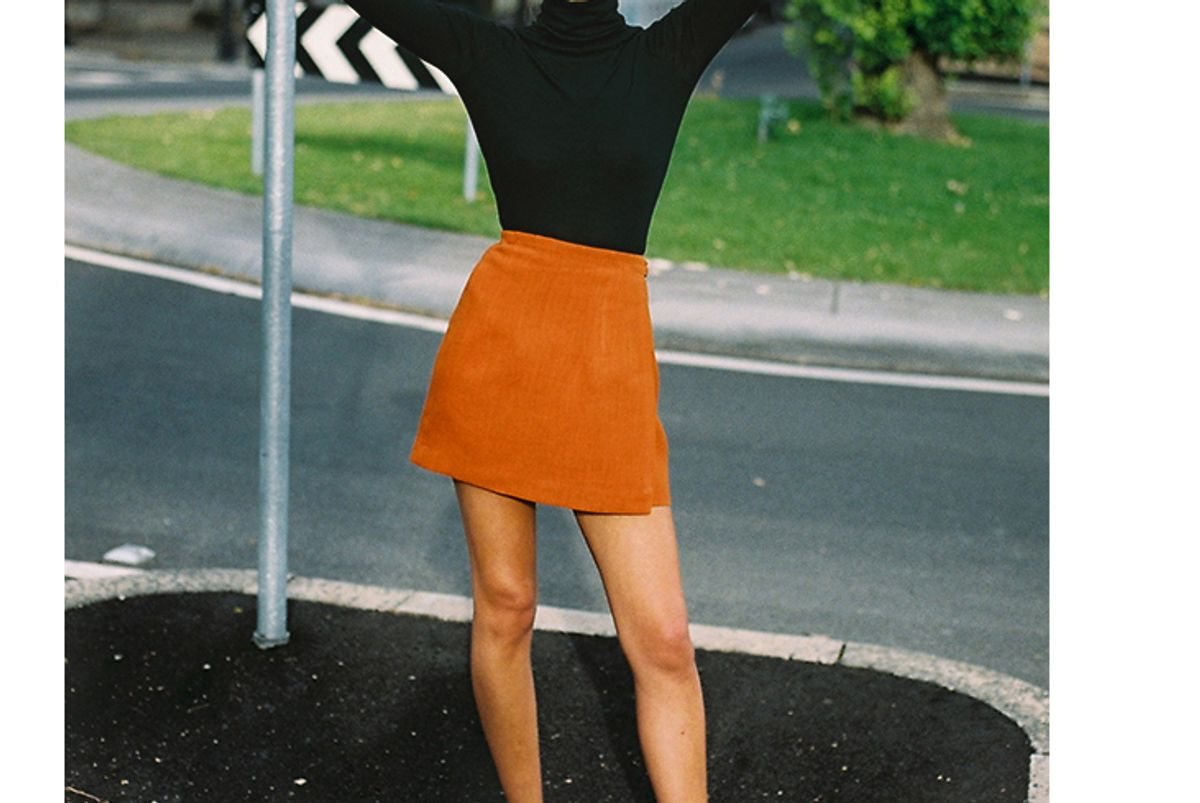 caves collect frank burnt orange wrap skirt
