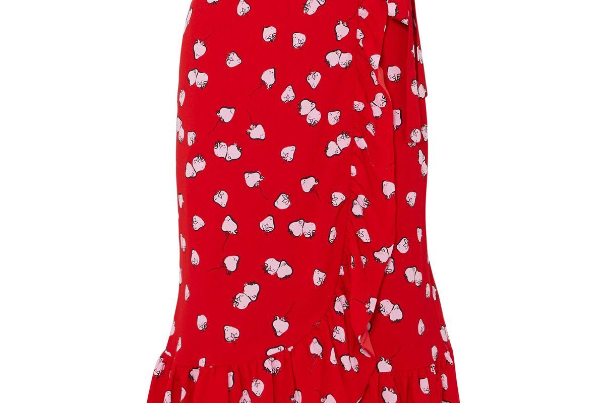 miu miu ruffled printed crepe wrap skirt