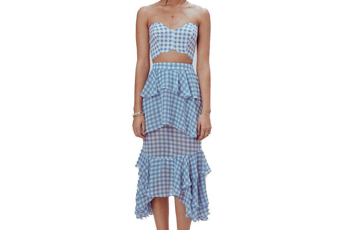 for love and lemons dorothy ruffled midi skirt