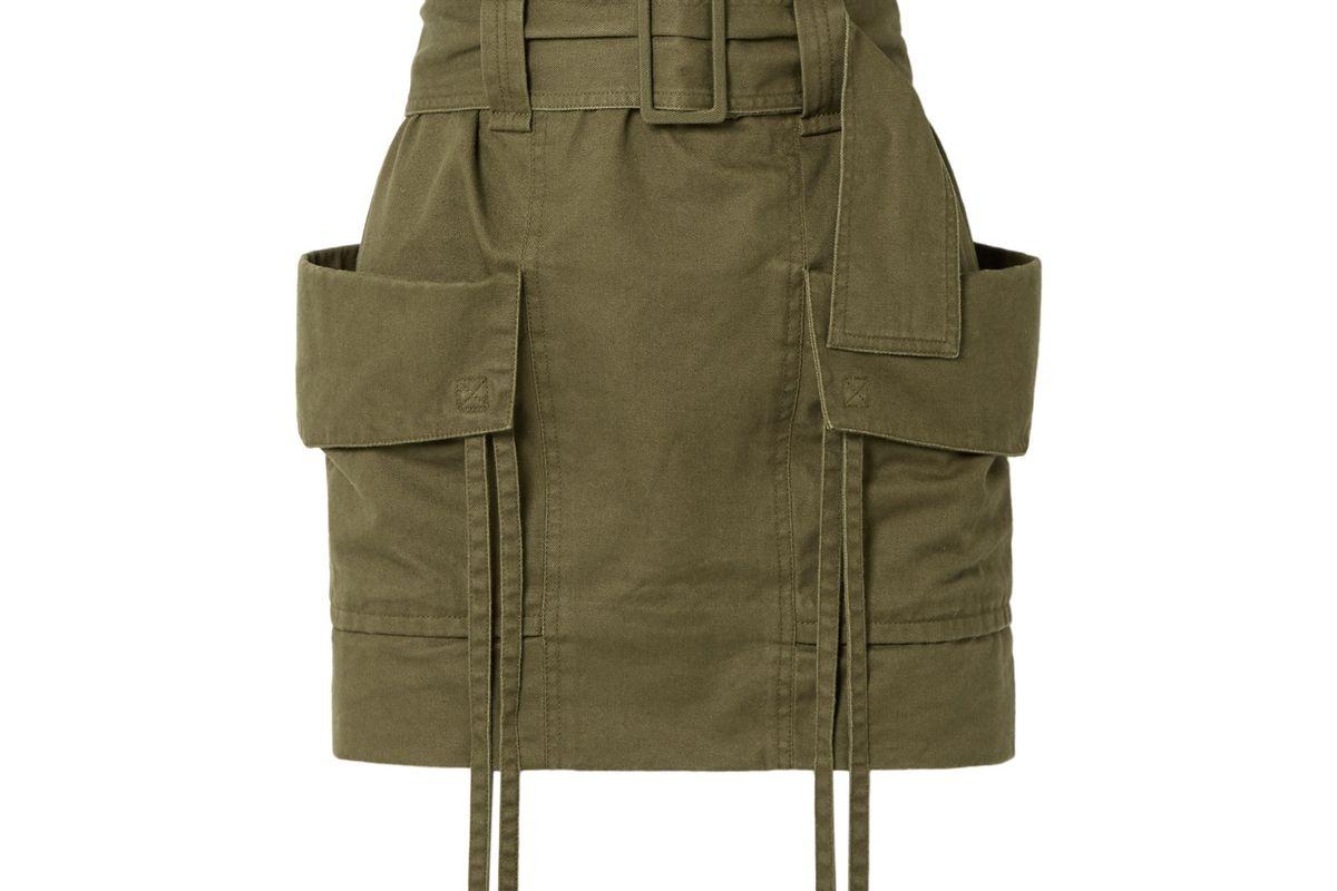 saint laurent belted cotton and ramie blend gabardine mini skirt