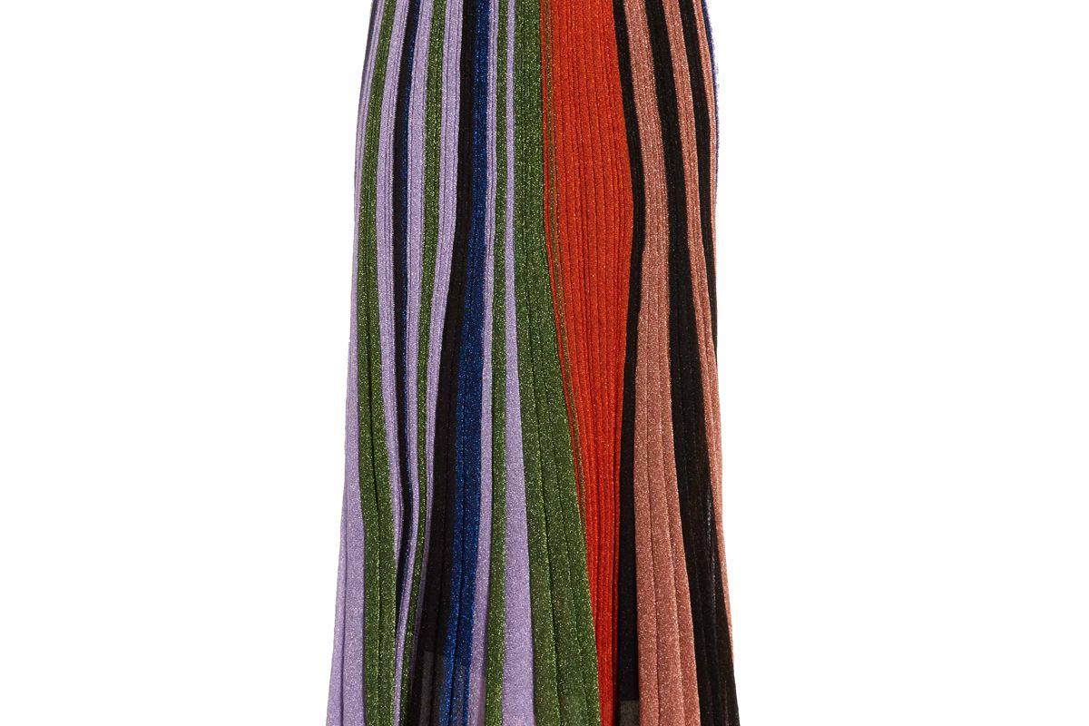 missoni pleated metallic crochet knit midi skirt