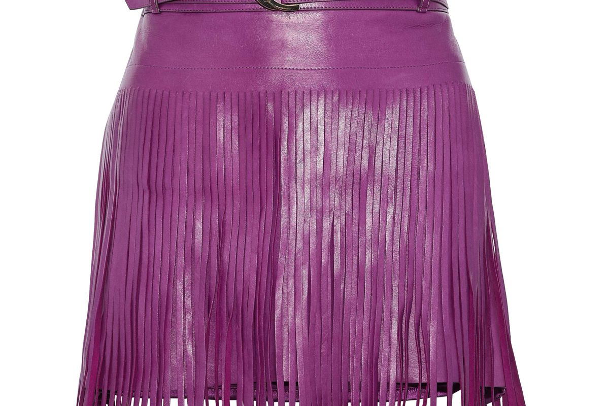 roberto cavalli belted fringed leather mini skirt