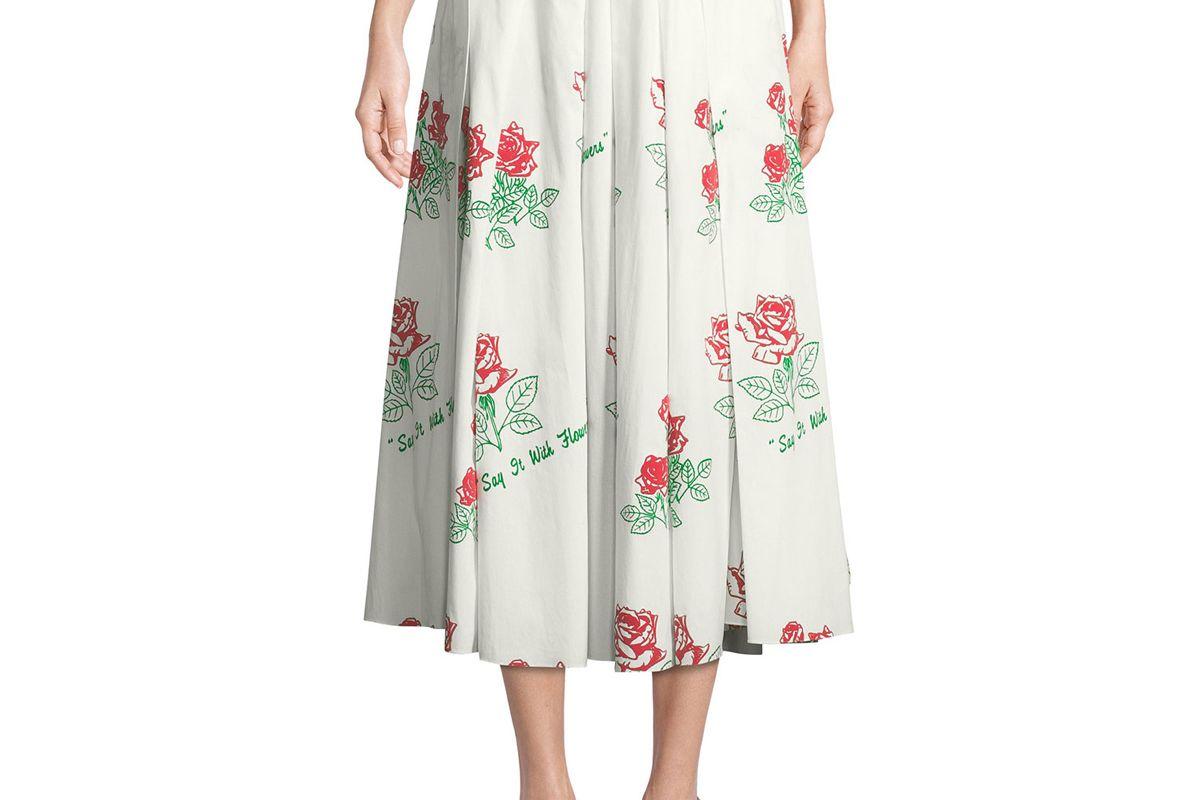 rosie assoulin say it with flowers poplin skirt
