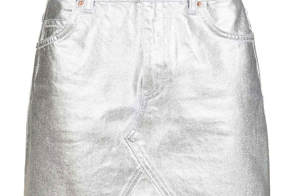 Moto Silver Coated Mini Skirt