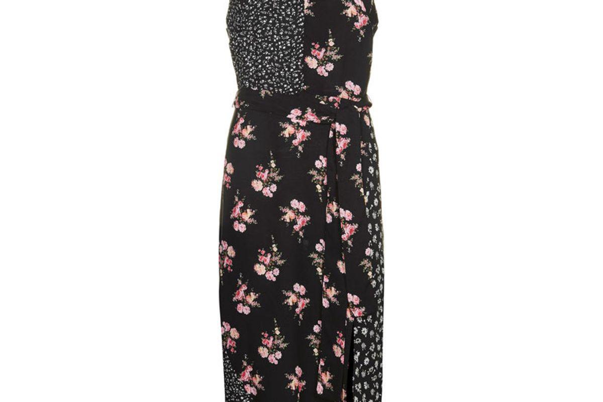 Patchwork Belted Slip Dress