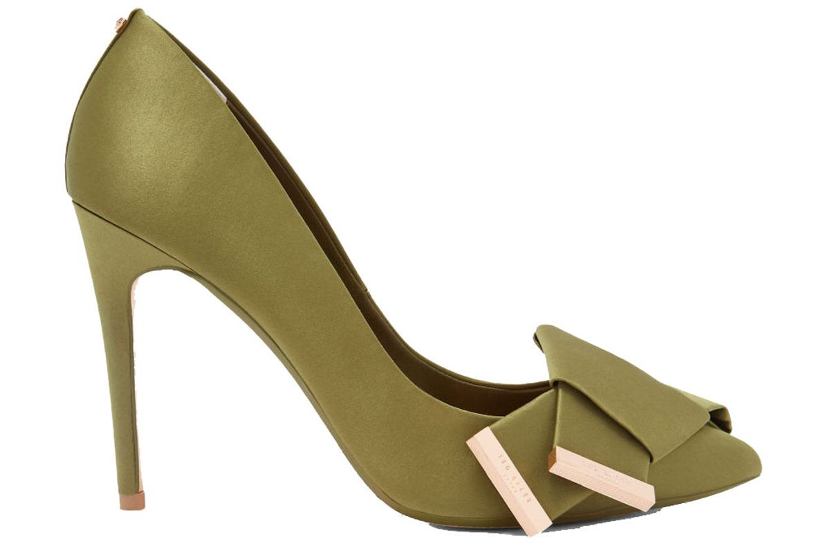 ted baker iines knotted bow satin courts