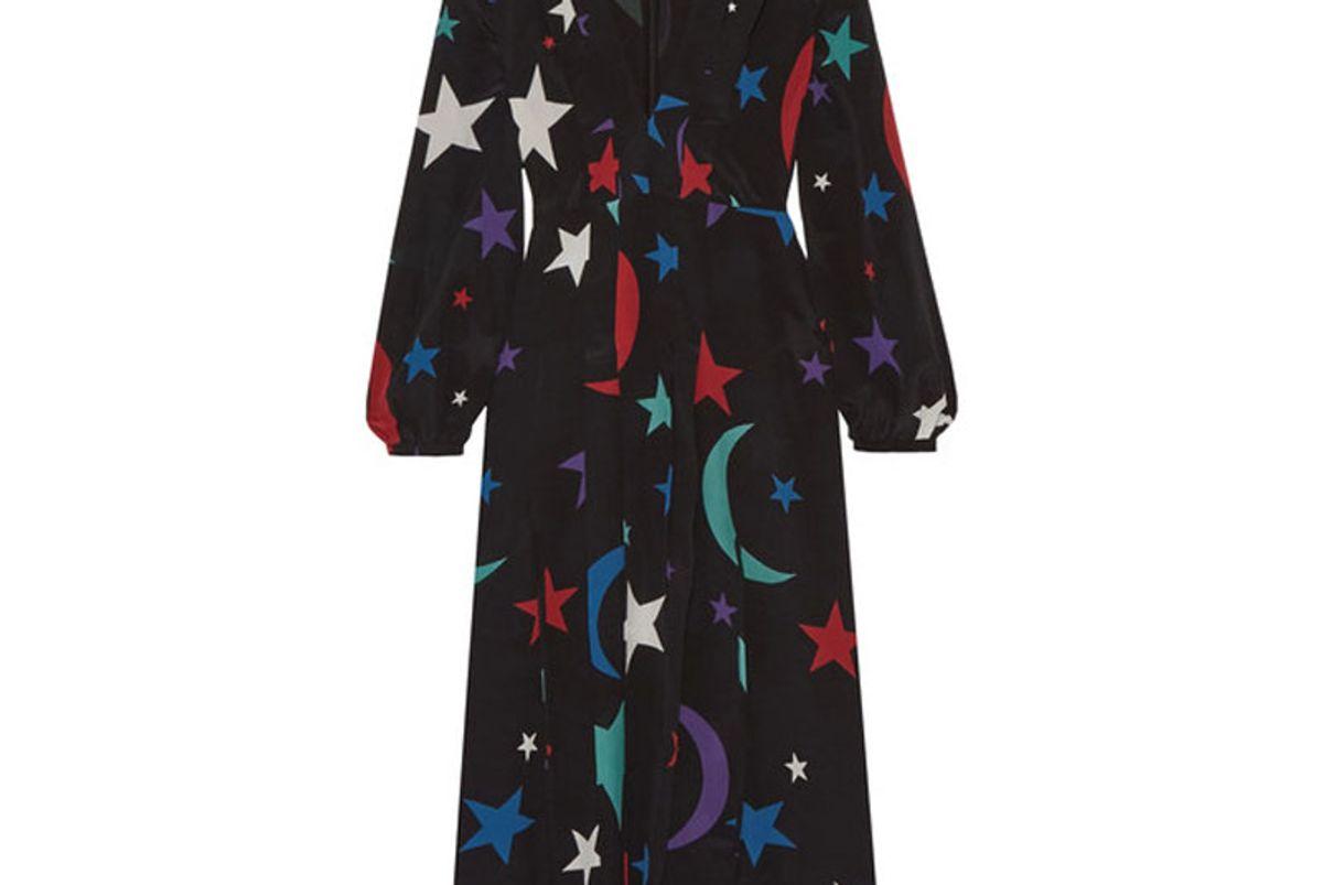 Camellia Printed Silk Midi Dress