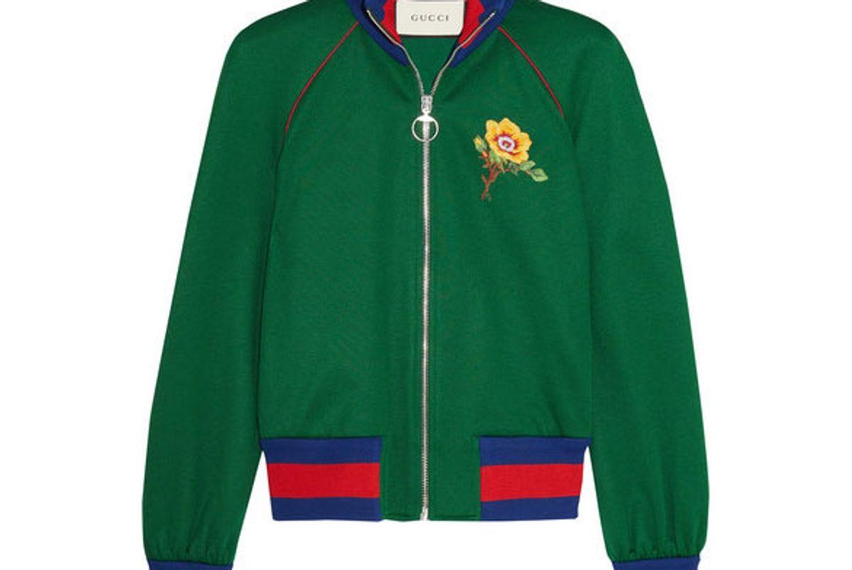 gucci appliqued satin jersey bomber jacket