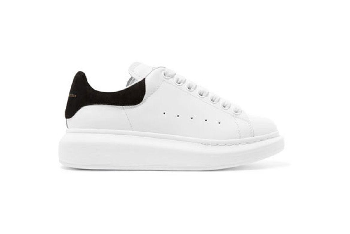 alexander mcqueen suede trimmed leather exaggerated sole sneakers