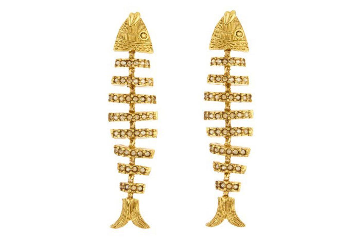 oscar de la renta pave fish earrings
