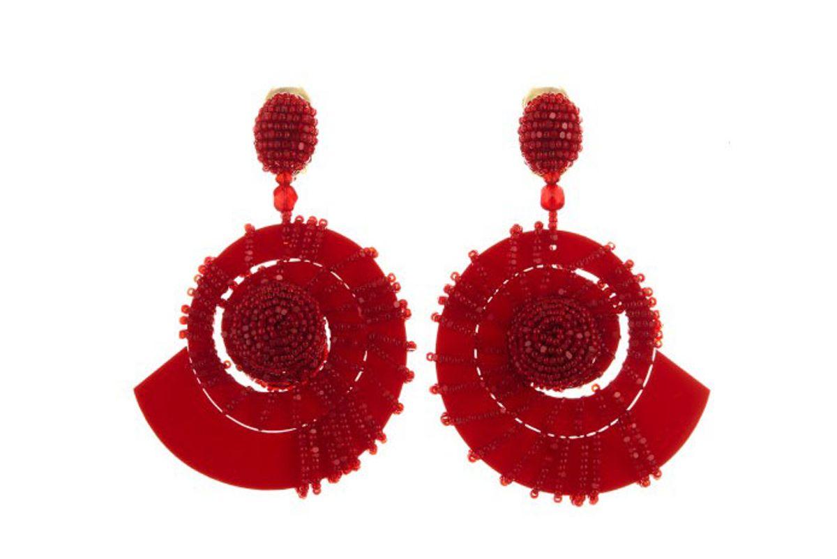 oscar de la renta mulberry beaded red seashell earrings