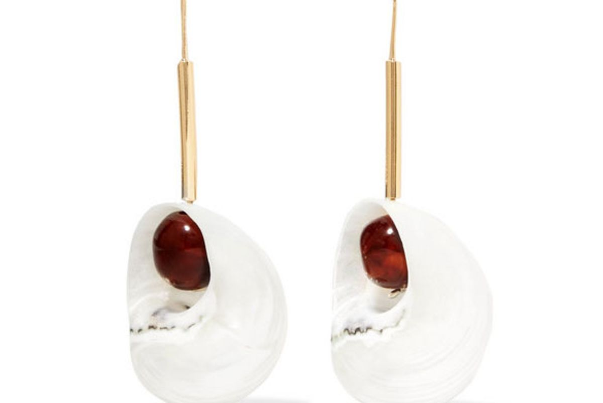 loewe snails gold-tone resin and shell earrings