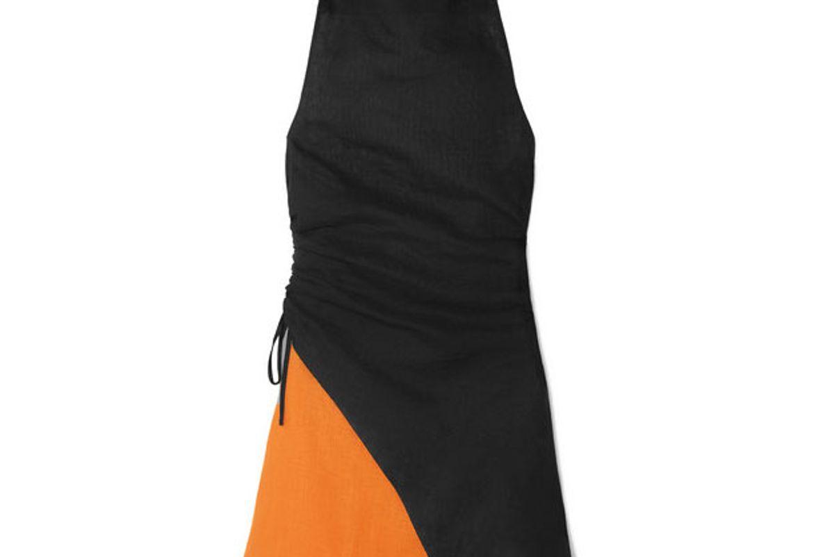 marques almeida two tone linen halterneck dress