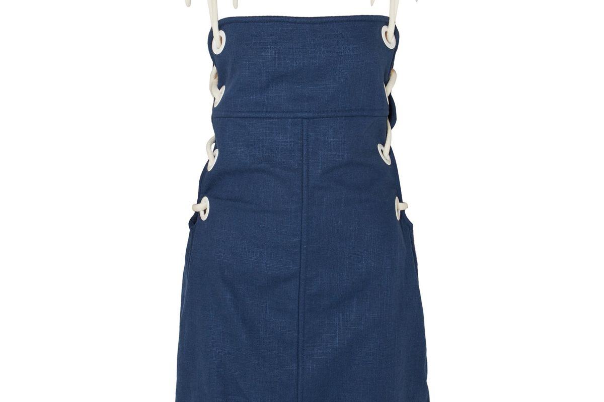 staud raft lace up linen blend mini dress