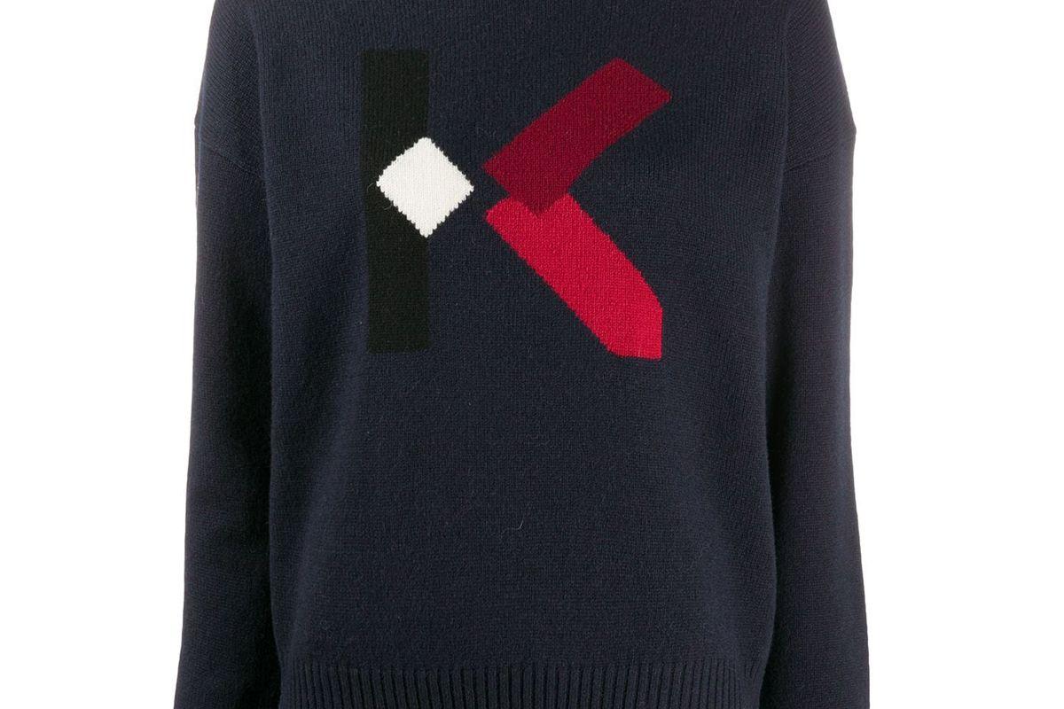 kenzo jacquard logo detail jumper