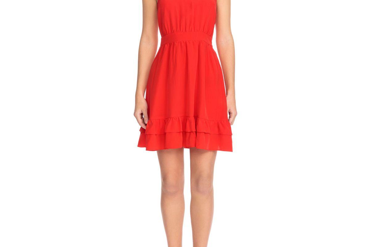 sezane alma silk fit and flare dress