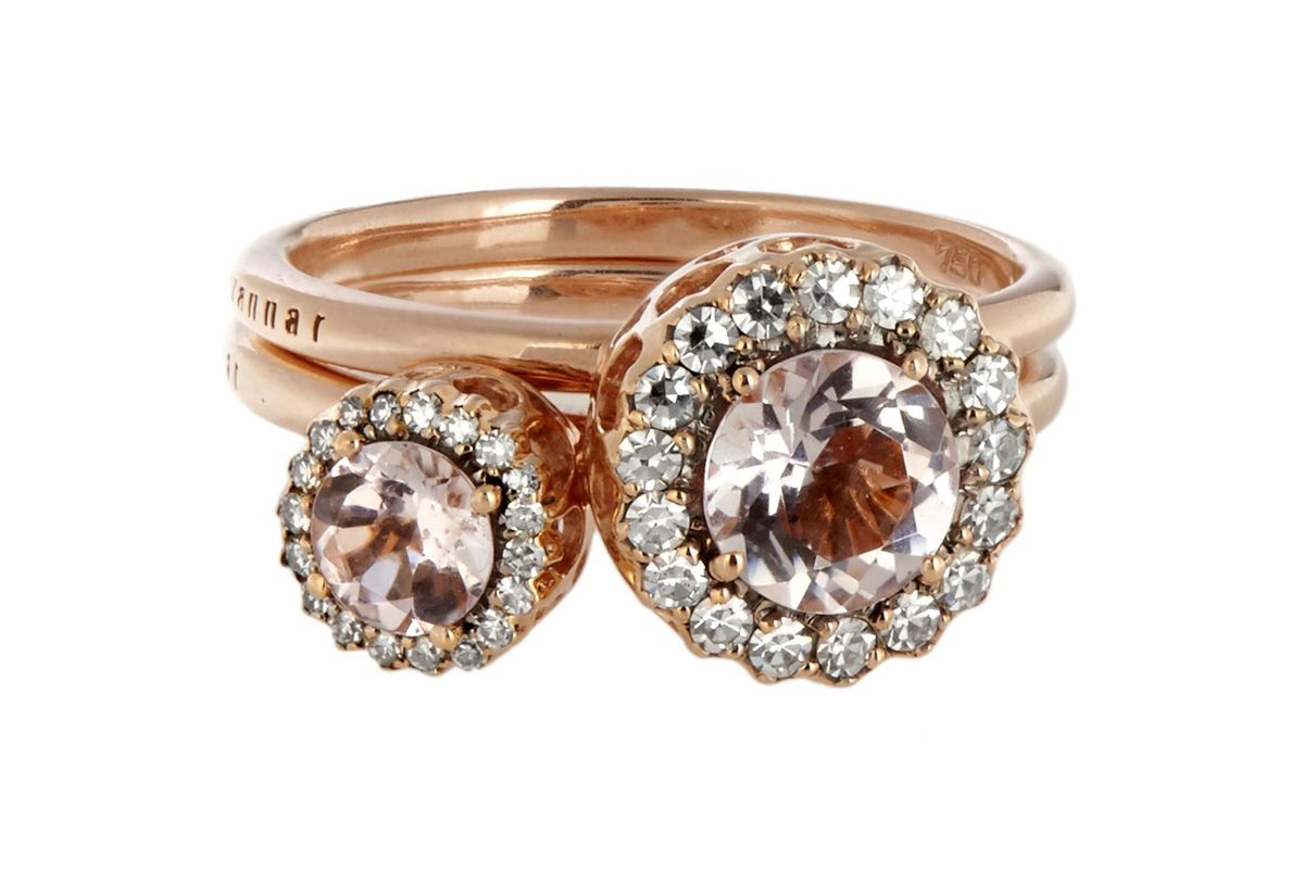 Diamond, morganite & pink-gold Beirut rings