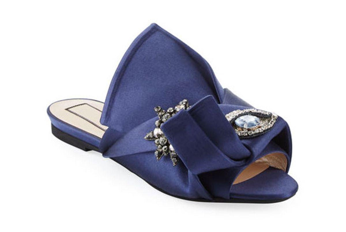 no 21 crystal eye satin flat slide sandal